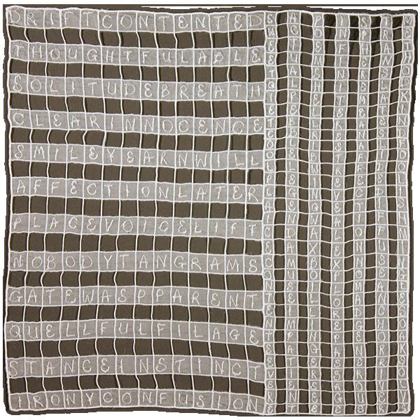 "2013 15.5x15.5"" Silk organza, tulle, paper, rayon thread"